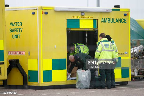 London Ambulance at the new NHS Nightingale Hospital at ExCeL London on March 29, 2020 in London, England. The field hospital will initially contain...