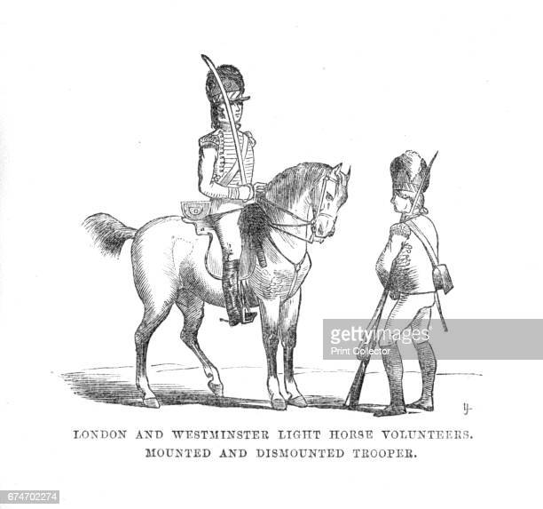 London and Westminster Light Horse Volunteers. Mounted and Dismounted Trooper', c1870. Equestrian portrait of a soldier with upright sword, in one of...