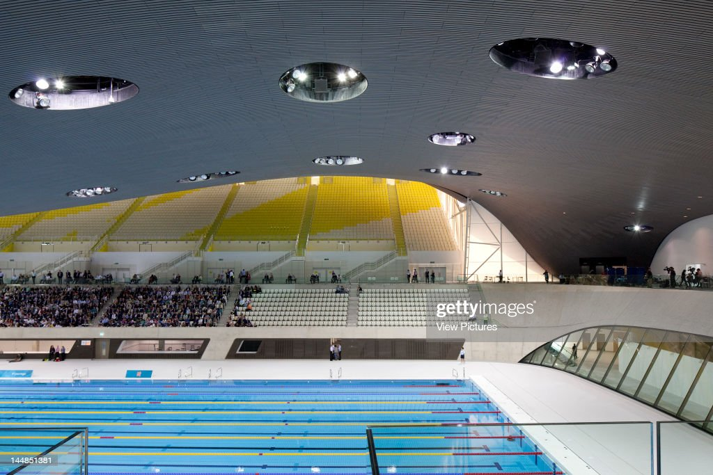 London Aquatic CentreLondon, E9, United Kingdom Architect:  Zaha Hadid Architects 2011 London Aquatic Centre, Zaha Hadid Architects, London, Uk, 2011, View Of Swimming Pool With People : News Photo