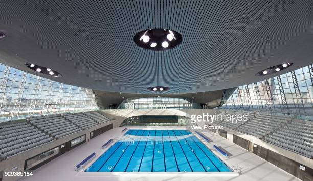 London Aquatics Centre, after the 2012 Games, London, United Kingdom. Architect: Zaha Hadid Architects, 2011. Overall view of competition pool and...