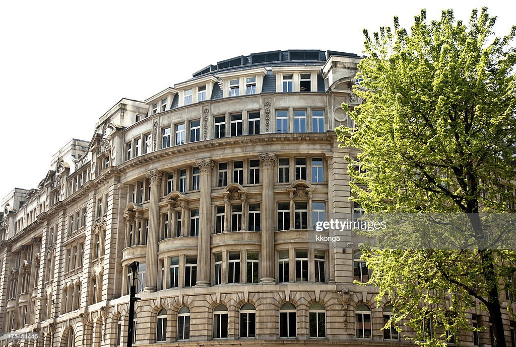 London Architecture Classic Building Facade Behind Lush Tree Stock Photo
