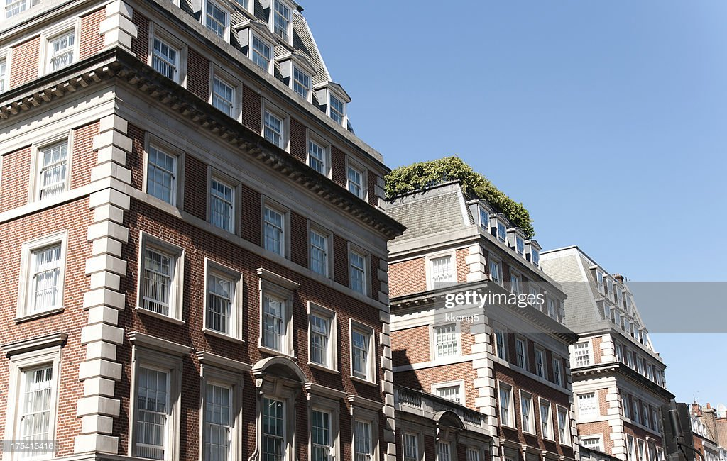 London Architecture Classic Buildings With Rooftop Garden Stock Photo