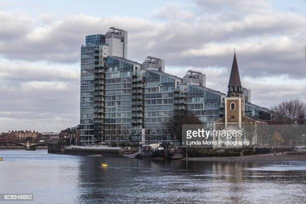 london architecture from the river thames - battersea stock pictures, royalty-free photos & images