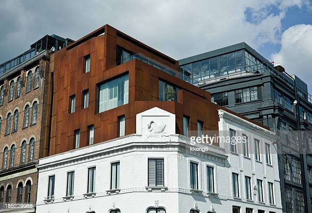 london architecture: trendy loft buildings in shoreditch - shoreditch stock photos and pictures