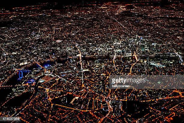 London at night time, taken from plane