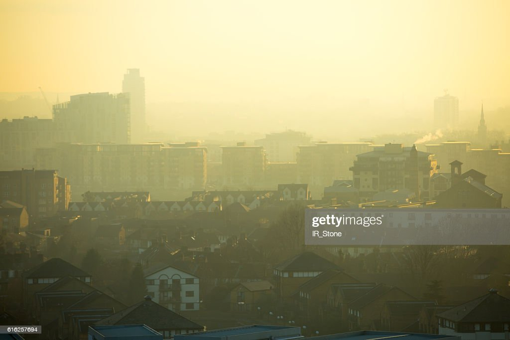 London at sunset,  view of the capital in foggy evening : Stock Photo