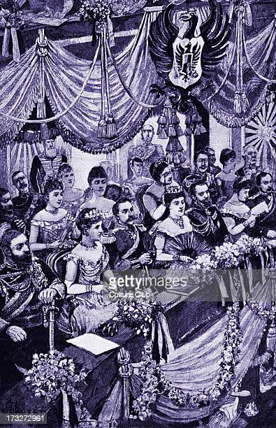 London audience in royal box at the Covent Garden opera late 19th century Queen Victoria with Prince Albert and visiting European royalty