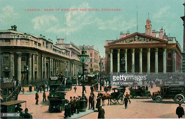 London, Bank of England and Royal Exchange', circa 1910.. Artist: Unknown.