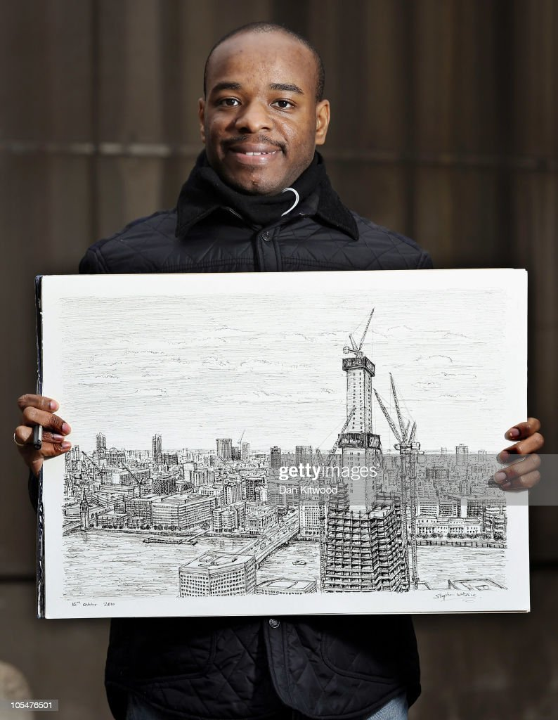 Artist Stephen Wiltshire Completes A Drawing Of The Shard Devlopment From Memory : News Photo