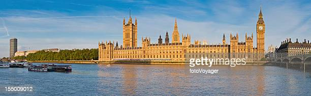 london big ben houses of parliament thames westminster panorama - whitehall london stock photos and pictures