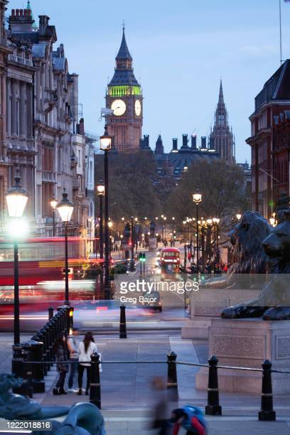 london big ben view from trafalgar square - whitehall london stock pictures, royalty-free photos & images
