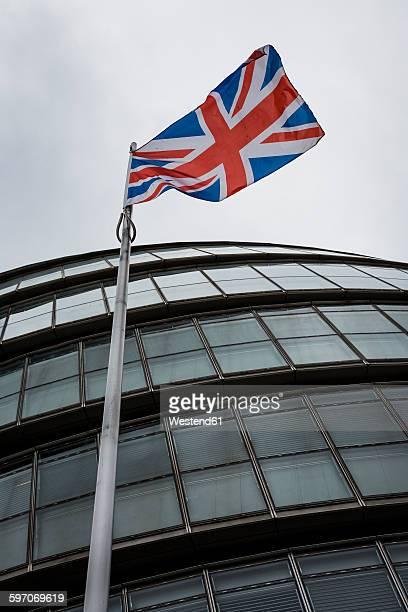 UK, London, blowing Union Jack