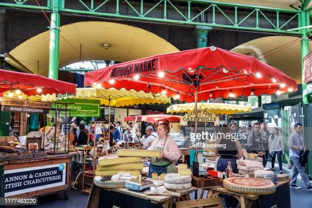 London Borough Market vendors stalls cheese monger