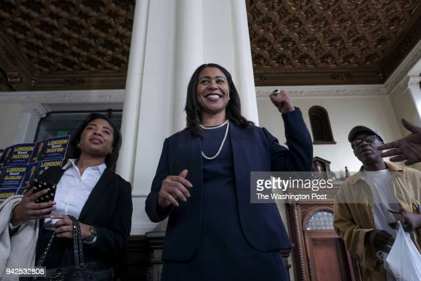 London Breed candidate for San Francisco mayor speaks to supporters at her campaign headquarters in San Francisco CA on March 8 2018 A special...