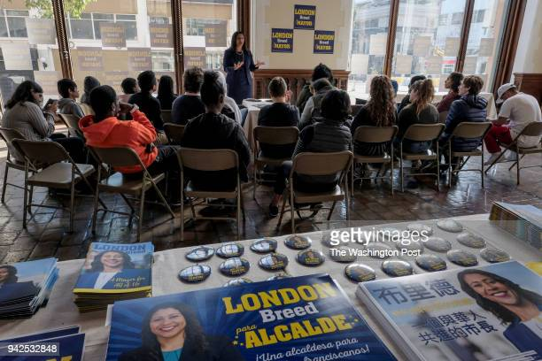 London Breed candidate for San Francisco mayor speaks with students at her campaign headquarters in San Francisco CA on March 8 2018 A special...