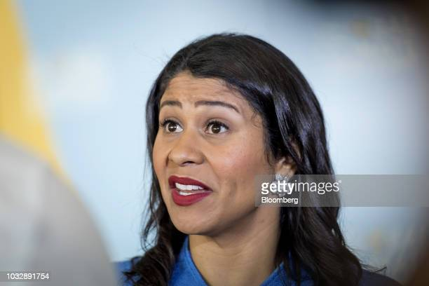 London Breed mayor of San Francisco speaks during an interview at the Global Climate Action Summit in San Francisco California US on Thursday Sept 13...