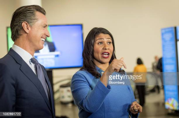 London Breed mayor of San Francisco speaks to attendees as Gavin Newsom Democratic candidate for governor of California left smiles during the Global...