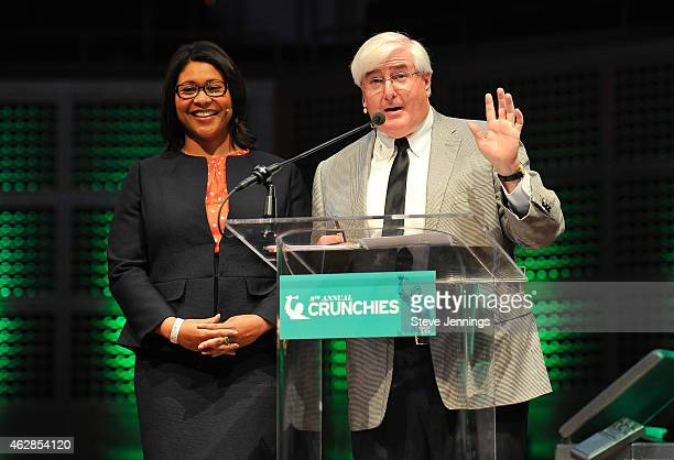 London Breed President of the San Francisco Board of Supervisors and Ron Conway of SV Angel speak onstage during the TechCrunch 8th Annual Crunchies...