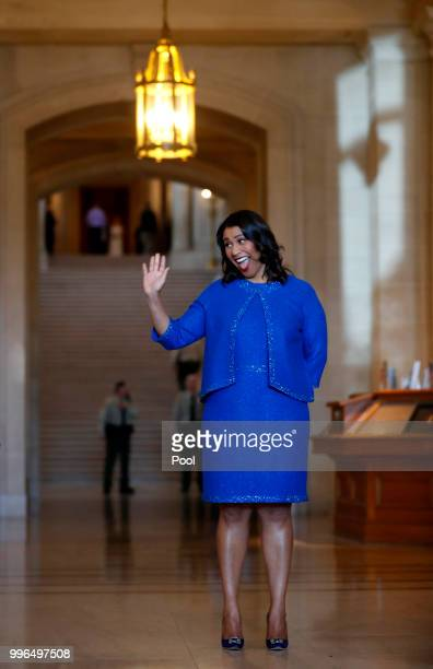 London Breed waves to the crowd during her inauguration ceremony July 11 2018 in San Francisco California