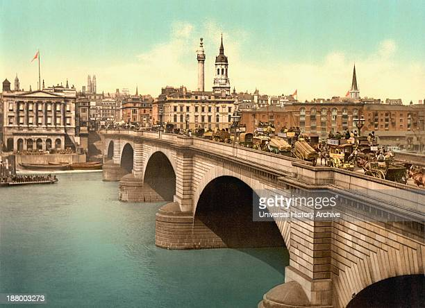 London Bridge Across The Thames River London England From A Colour Postcard Circa 1890