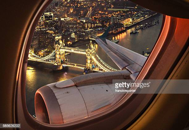 london bridge aerial view from the porthole - aeroplane stock photos and pictures