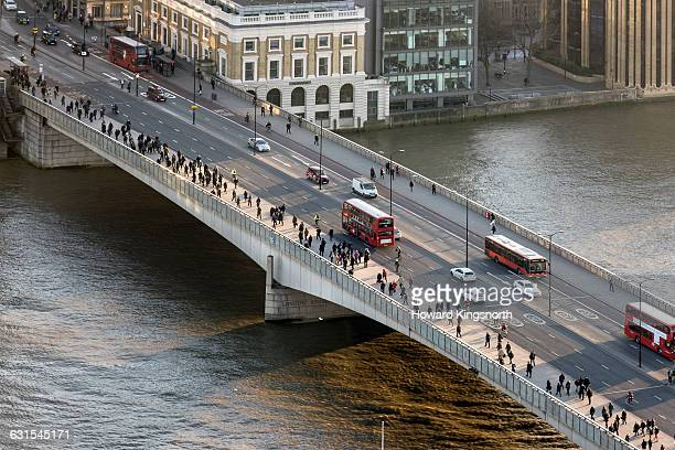 london bridge aerial with commuters - london bridge stock pictures, royalty-free photos & images