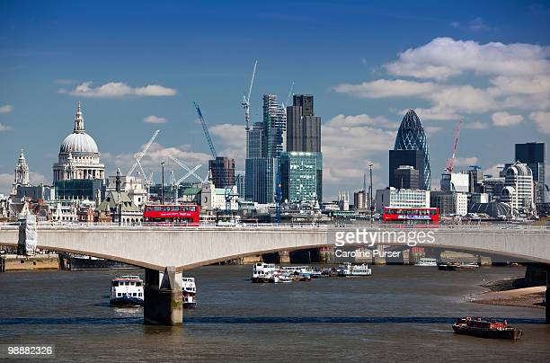london bridge and city of london from southbank - london bridge stock pictures, royalty-free photos & images