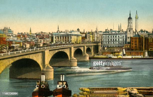 London Bridge, circa 1910. London Bridge over the River Thames, looking towards the City from Southwark. The bridge was designed by John Rennie,...