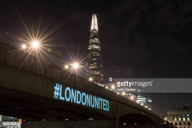 London Bridge is lit up with the Hashtag #LONDONUNITED on the first anniversary of the London Bridge terror attack on June 3 2018 in London England...