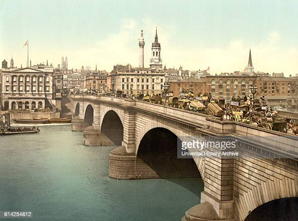 London Bridge London England Photochrome Print circa 1900