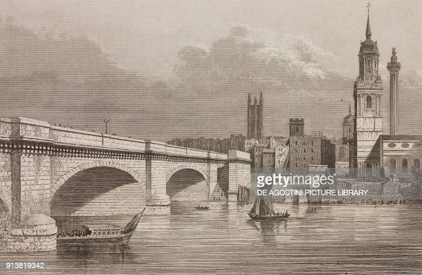 London Bridge London England United Kingdom engraving by Lemaitre from Angleterre Ecosse et Irlande Volume IV by Leon Galibert and Clement Pelle...