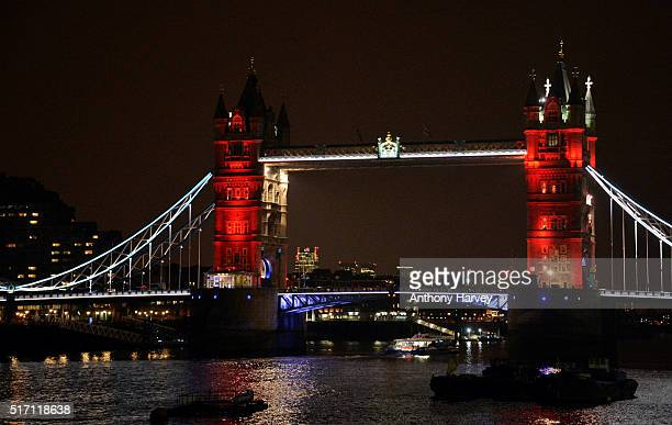 London Bridge one of many London landmarks which have been lit up in support of Belgium following the terrorist attacks in Brussels yesterday on...