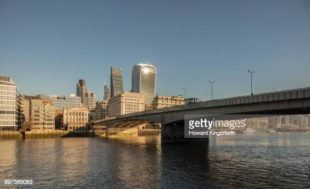 London Bridge, River Thames and city buildings
