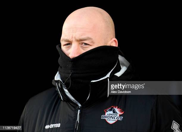 London Broncos head coach Danny Ward during the Betfred Super League match between Salford Red Devils and London Broncos at AJ Bell Stadium on...