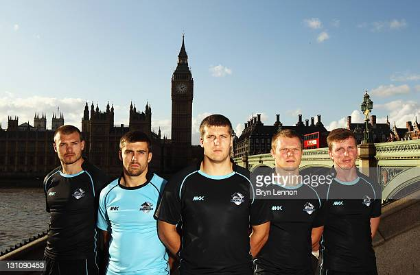 London Broncos players Liam Colbon Chris Melling Tony Clubb Jamie O'Callaghan and Dan Sarginson pose for a photo in front of Big Ben and the Houses...