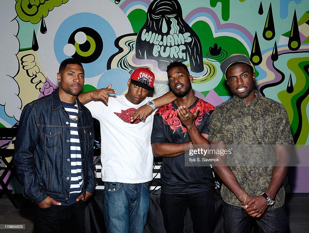 London Brown, DJ Whoo Kid, Luke James and Y'lan Noel attend Fuse's screening of 'The Hustle' at Converse Rubber Tracks Studio on June 18, 2013 in the Brooklyn borough of New York City.