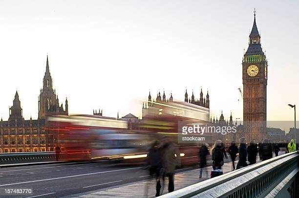 london bus and big ben with movement blur - westminster bridge stock pictures, royalty-free photos & images