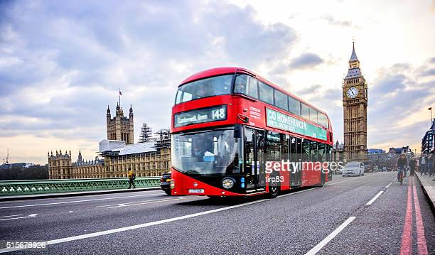 London bus and Cyclists on Westminster Bridge Big Ben behind