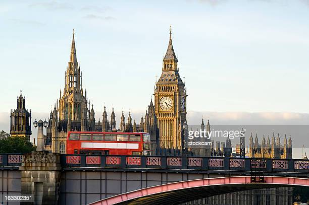 London bus and Houses of Parliament