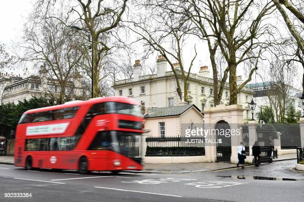 A London bus drives past a private road in front of the Russian embassy in central London on March 15 2018 Britain's Prime Minister Theresa May said...