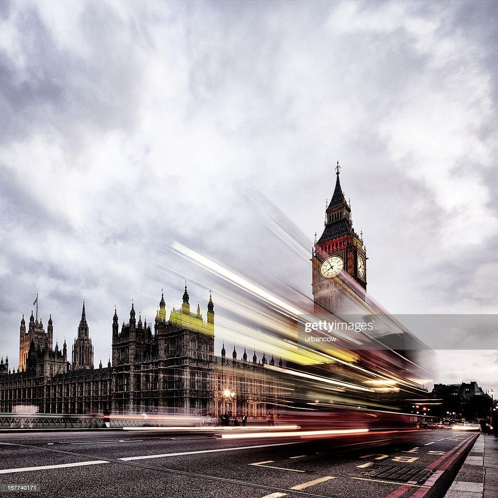 London bus, Houses of Parliament, Big Ben : Stock Photo
