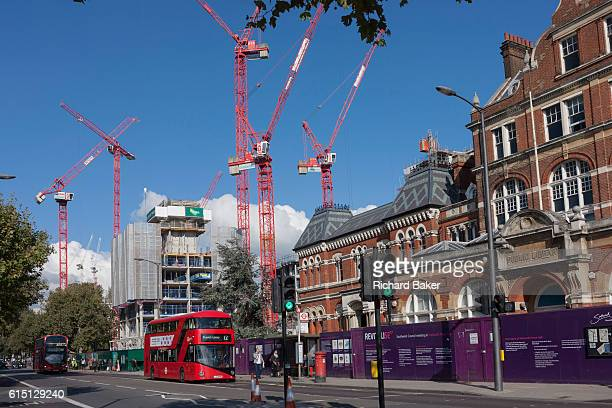 A London bus passes the new Elephant Park development on the Walworth Road Elephant Castle on 11th October 2016 in London England Southwark Councils...