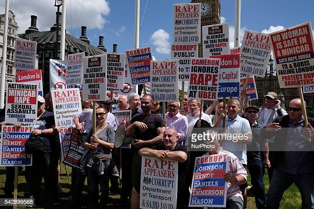 London cab drivers and anitrape campaigners gather in Parliament square to protest against Uber taxi service in London on June 24 2016