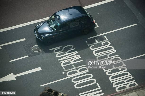 London cab, overhead view