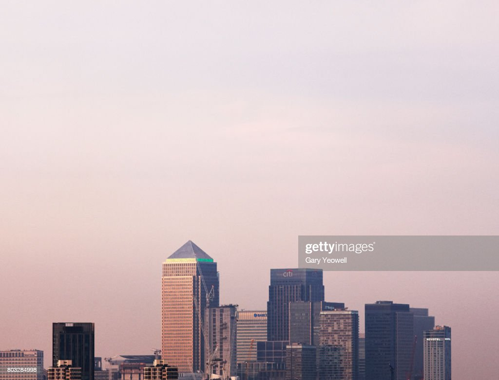 London Canary Wharf skyline at sunset : Stock Photo