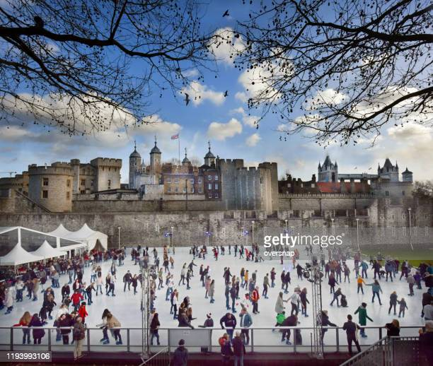 london christmas holiday skaters - winter sports event stock pictures, royalty-free photos & images