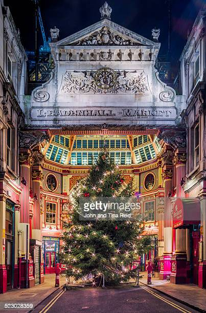 london christmas - leadenhall market stock photos and pictures