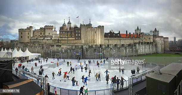 london christmas skaters - ice rink stock photos and pictures