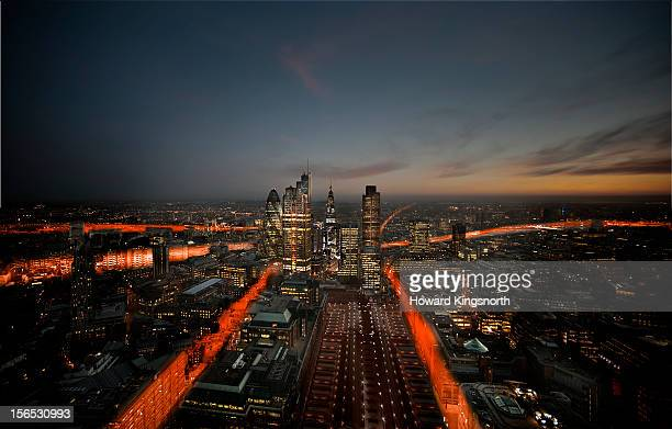 london city aerial trails - skyscraper stock pictures, royalty-free photos & images