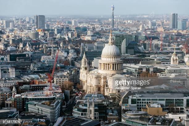 London city aerial view with St Paul's Cathedral, London, UK